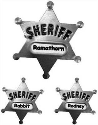 One Dozen (12) Costume Sheriff Badges Child Adult Custom Name - Costume Badges