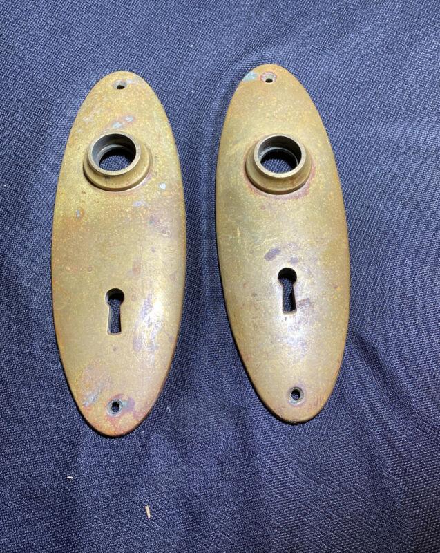 2 Vintage Brass ESCUTCHEONS Back Plate 7 3/8 inches Key Hole Door Knob