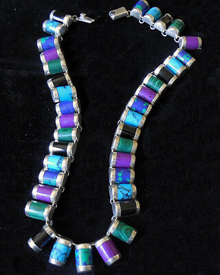 Vintage Taxco STERLING SILVER 37 Multi Stone Turquoise NECKLACE Signed GORGEOUS