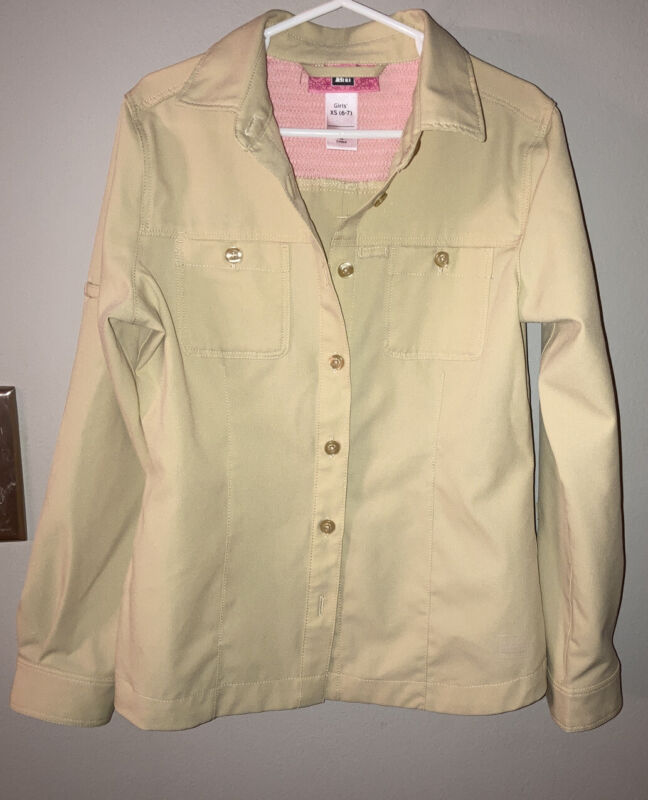 REI GirlsTan Button Down Shirt Roll Tab Sleeves 100% Polyester Sz XS (6-7)