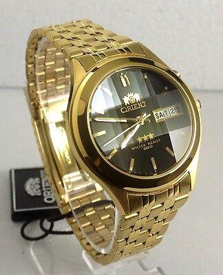 Orient Men's Automatic  watch Black Dial Gold Tone Facet Glass Box Warranty