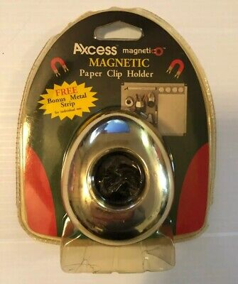 Axcess Magnetic Paper Clip Holder For Office W Bonus Metal Strip