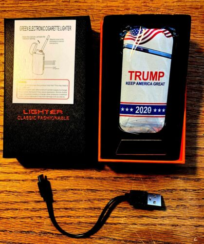 """TRUMP 2020 WINDPROOF ELECTRIC RECHARGEABLE LIGHTER- """"NEW"""" IN BOX W/ TAGS"""
