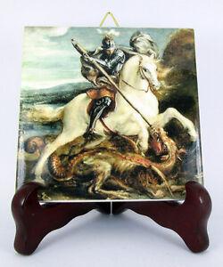 St George and the dragon religious icon on ceramic tile catholic saint holy art - Italia - St George and the dragon religious icon on ceramic tile catholic saint holy art - Italia
