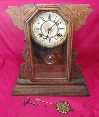 Antique Waterbury Clock Co., Wood Mantel Clock w/ Key & Pendulum - JARVIS