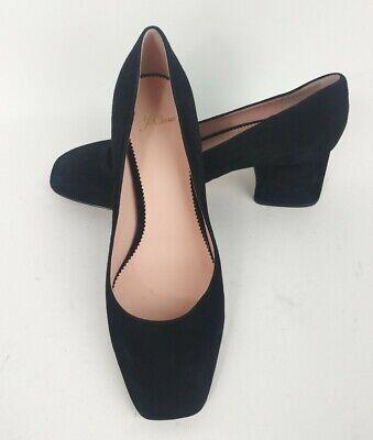 J.Crew Celia Womens Size 9.5 Block Heel Classic Pumps Black Suede Leather J8328 Black Suede Leather Classic Pumps