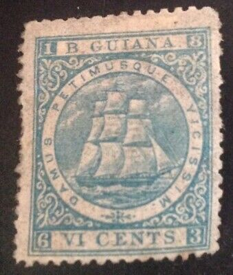 British Guiana 1863-76 6 cent milky blue stamp mint hinged