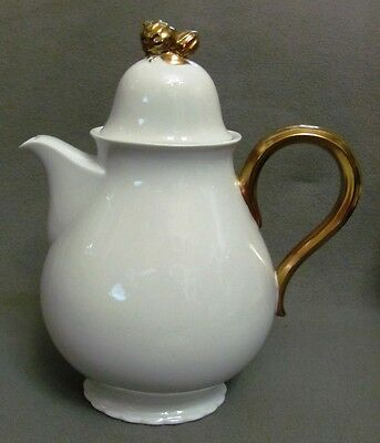 Porzellan Kaffeekanne weiß-gold; Paul Müller Selb