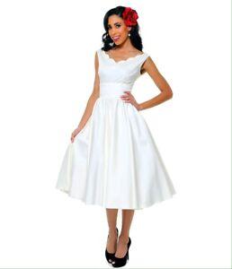 White 1950s vintage style swing dress