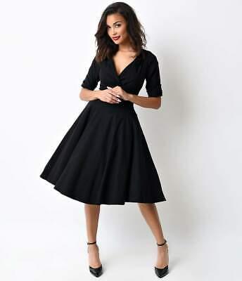 $266 Unique Vintage Women`s Black Elbow-Sleeve V-Neck Fit&Flare Swing Dress S