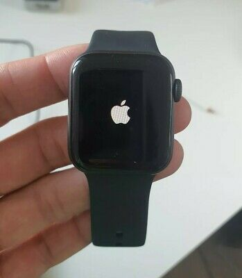 Apple Watch Series 4 40 mm Space Gray Aluminum Case with Black Sport Band.