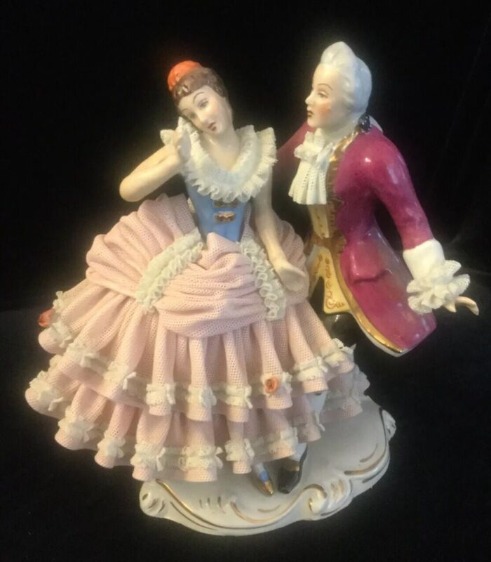 Vintage German Dresden Lace Dancing Colonial Couple Figurine