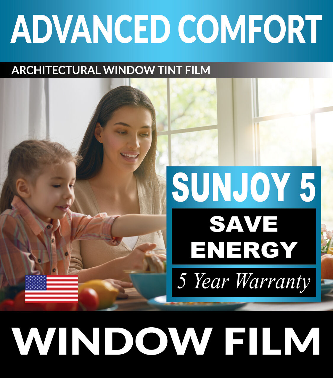 SunJoy 5 One Way Mirror Privacy Home Commercial Window Tint