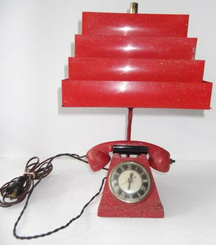 Vintage Retro Telephone Lamp /Clock /Cigarette Lighter by The Trea-Boye Corp NY