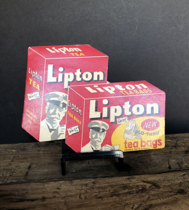 Vintage Lipton Tea Bags Sewing Needle Kit W. Germany has most needles intact.