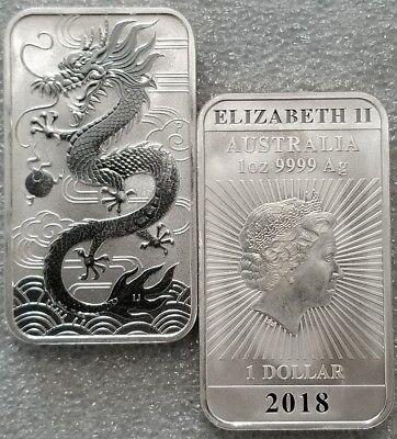 1 oz .999 silver dollar dragon Perth mint Australia art bar first release NEW!