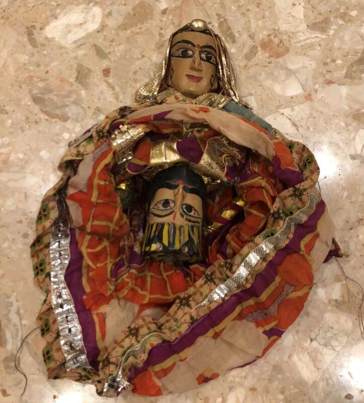 "Antique Reversible Puppet Marionette Wood Doll King Queen Asian Thai FolkArt 18"""