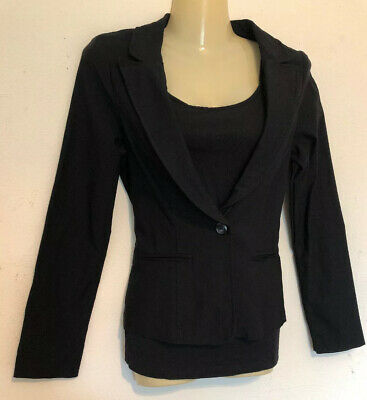 Papaya Woman's Blazer Jacket Size Small Black Stretch One Button Double Breasted Black Stretch Blazer Jacket