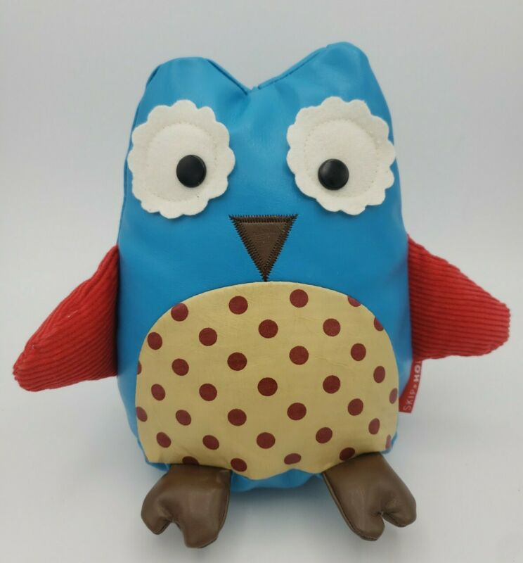 """Skip Hop Blue Owl Zoo Door Stop Bookend Toy Faux Leather Polka Dot Applique 6.5"""""""