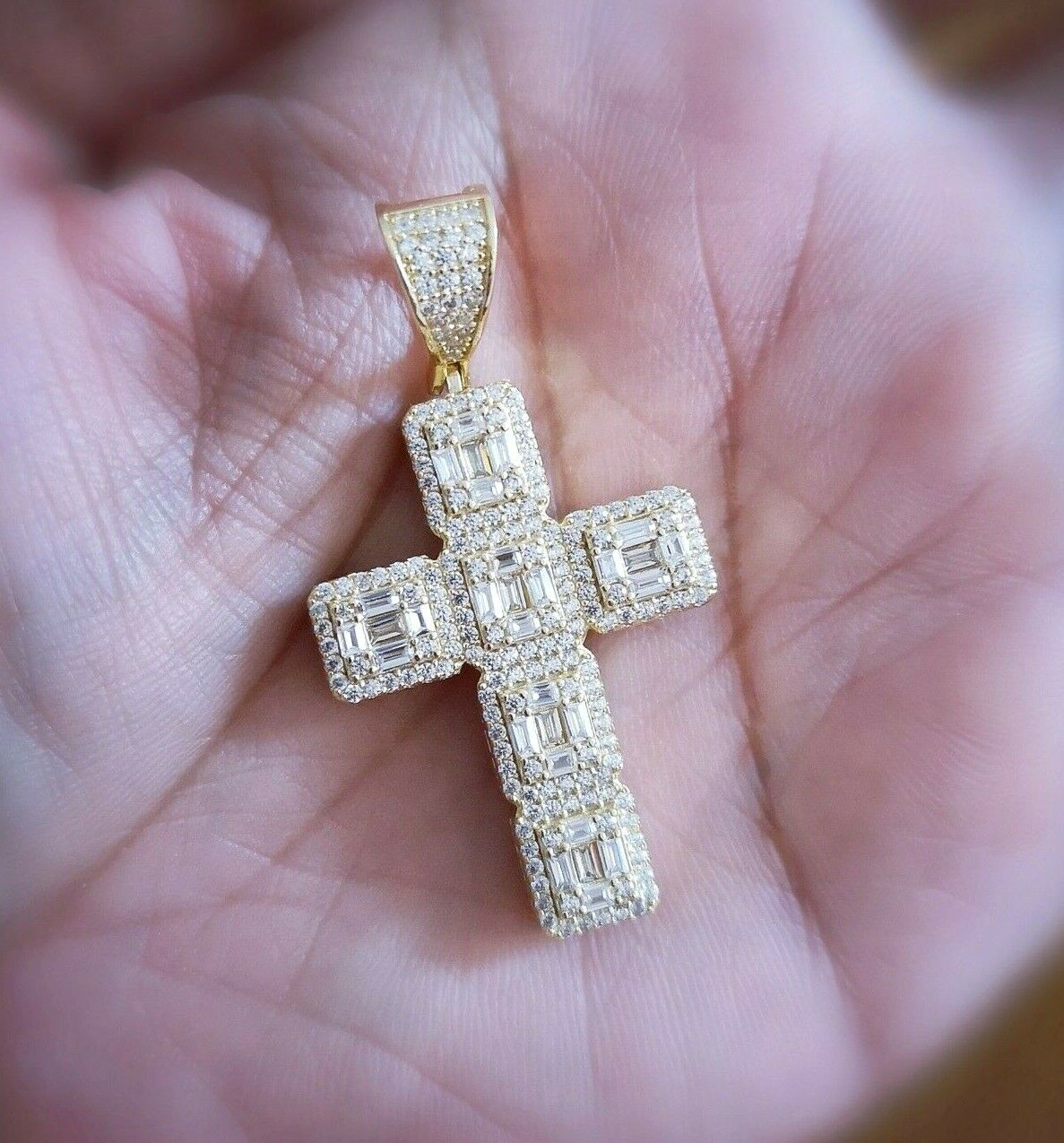 5 Ct Diamond Cross Pendant with Chain 14K Yellow Gold over Womens Mens Necklace