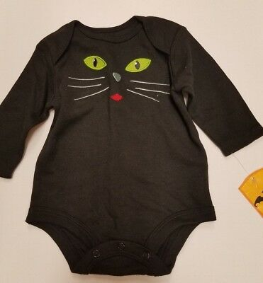 Infant Girls No Name Brand Halloween Black Green Eyes Cat Onesis Size 0-3 - No Eyes Halloween