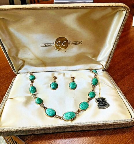 Vintage CURTIS CREATIONS 12K GF Green Art Glass  Necklace & Earrings Set in Box