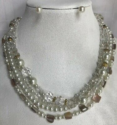 Dream Day Designs - Premier Designs Day Dream Necklace Triple Strand GoldTone Pearls Clear Beads MOP