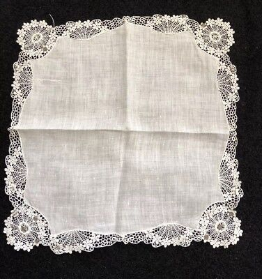 Vintage Wedding White With Scalop Lace And Crystals Handkerchief