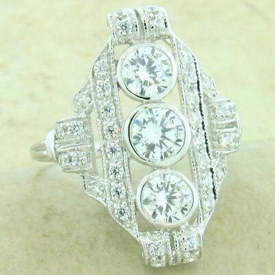Platinum Antique Style Ring (ART DECO 925 SILVER WITH PLATINUM FINISH ANTIQUE STYLE CZ RING SIZE 8 ,   )