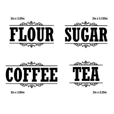 Canister Label Set Decal Stickers Kitchen Home Decor Pantry Flour Sugar Tea - Kitchen Home Decor