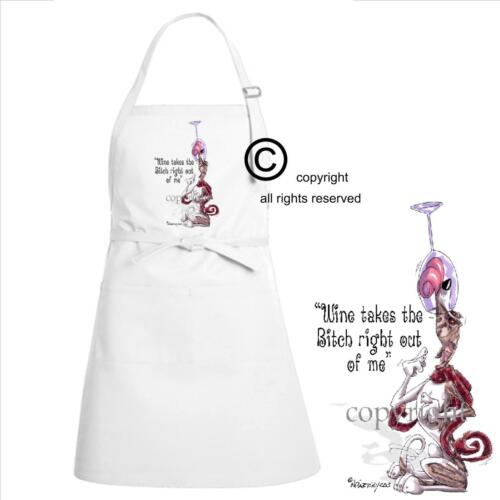 Whippet Dog Breed Cartoon Art Wine Drinker Takes Bitch Out Kitchen Chef Apron