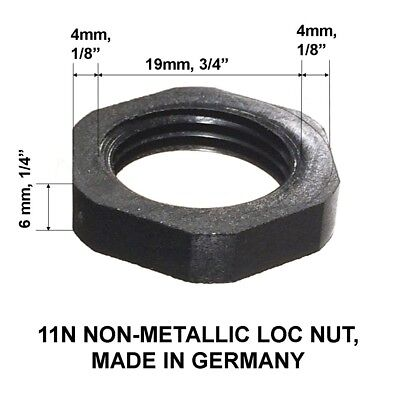 11N NON-METALLIC LOC NUT, MADE IN GERMANY Lot Of 25 Nuts Dimension on Photo