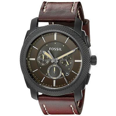 Fossil Men's FS5121 Machine Chronograph Dark Brown Leather Strap Date Watch