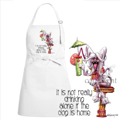 Chinese Crested Dog Breed Cartoon Art Not Drinking Alone Kitchen Chef Apron