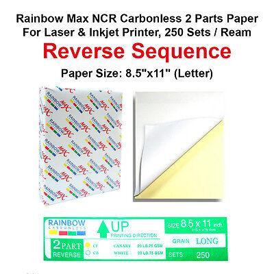 NCR Carbonless 2 Parts Paper for Laser & Inkjet Printer, 250 Sets