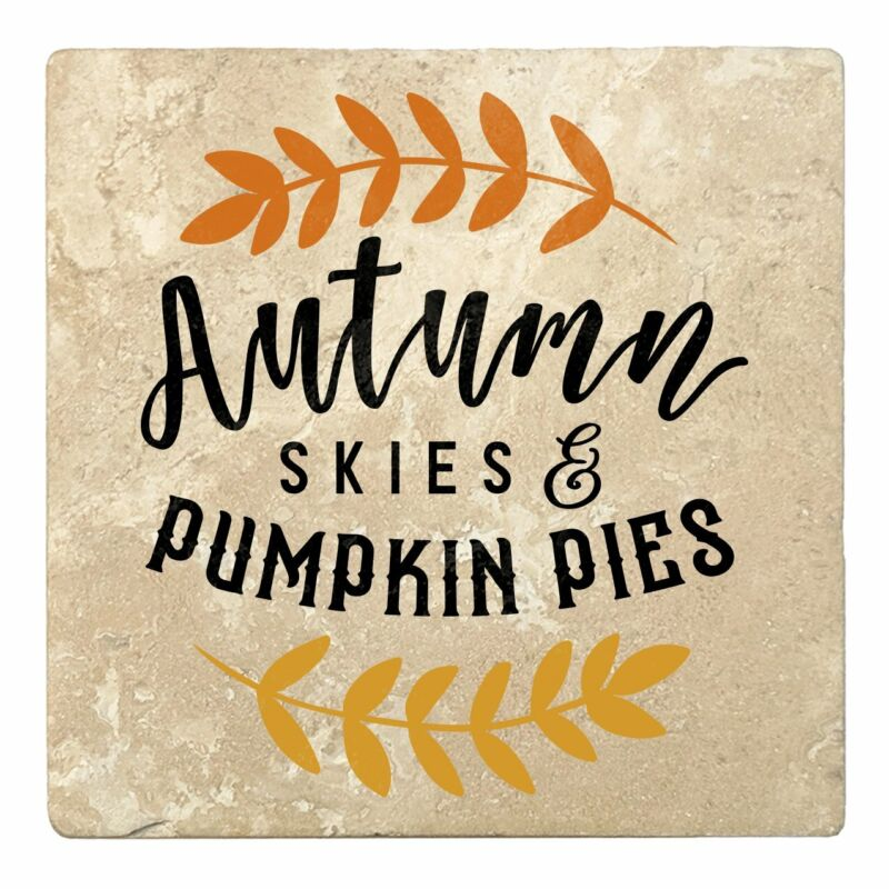 """Set of 4 Absorbent Stone 4"""" Fall Autumn Coasters, Autumn Skies And Pumpkin Pies"""