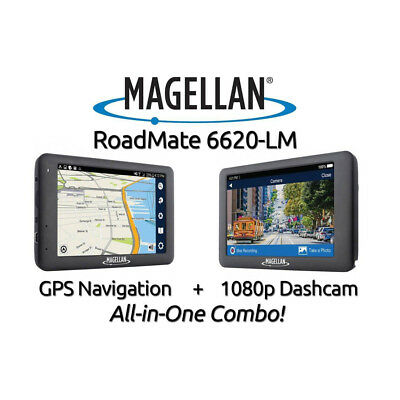"Magellan RoadMate 6620-LM GPS + Dash Cam Combo 5"" WiFi & Lifetime Map Updates"