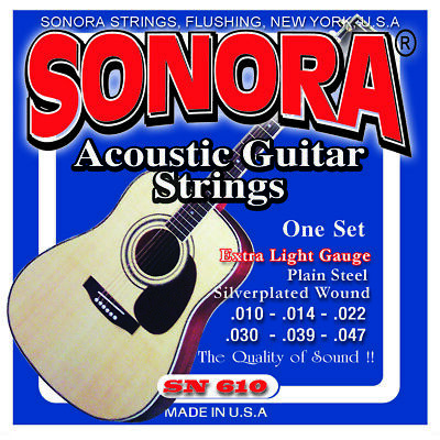 Sonora  Acoustic Guitar Strings, Silver Plated   Cuerdas Metal Para Guitarra  Metal Guitar Strings