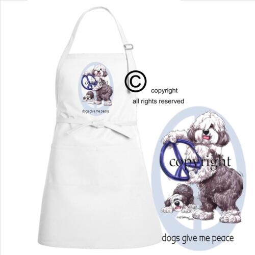 Old English Sheepdog Dogs Give Me Peace Cute Cartoon Art Kitchen Chef Full Apron