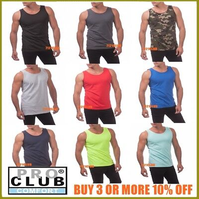 PRO CLUB TANK TOP MENS SLEEVELESS MUSCLE SHIRT PROCLUB PLAIN CAMO T SHIRTS S-5XL - Muscle Shirts Mens
