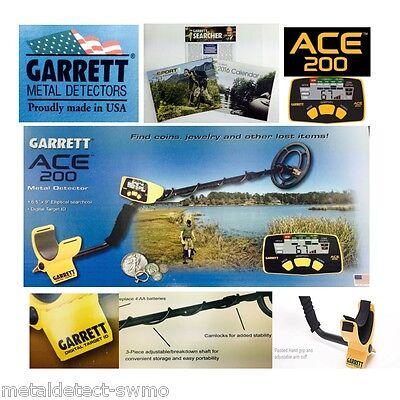 Garrett Ace 200 Metal Detector, Target ID, Cam Locks, Waterproof Coil, FREE SHIP