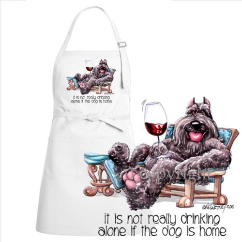 Bouvier Des Flandres Dog Breed Cartoon Art Not Drinking Alone Kitchen Chef Apron