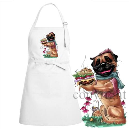 Bullmastiff Cheeseburger Chowhound Caricature Cartoon Art Kitchen Chef Apron