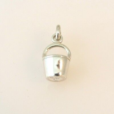 .925 Sterling Silver 3-D BUCKET CHARM Pendant Garden Water Cleaning 925 NEW GA38