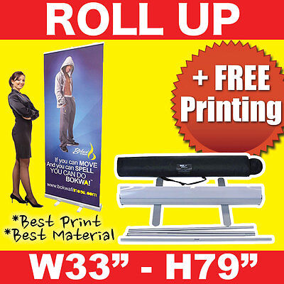 Retractable 33x 79 Roll Up Banner Stand Free Printing Free Shipping