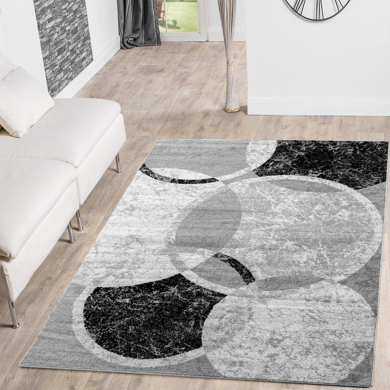 Perfekt Teppich Günstig Kreis Design Modern Wohnzimmerteppich Grau Creme Schwarz  Meliert