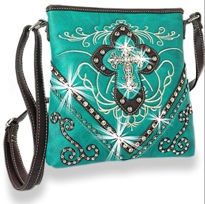 NEW 2017 Fall Decorative Wester Rhinestone Cross Concealed Carry Crossbody - Wester Decor