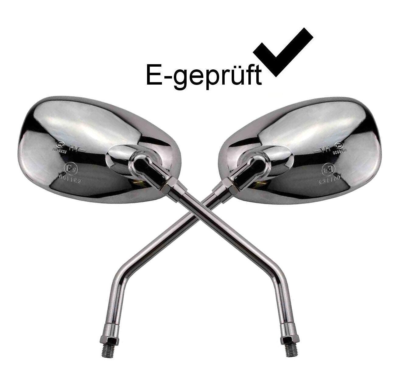 Motorrad Spiegel Paar in Chrom Seitenspiegel Set mit M10 Rechtsgewinde Roller