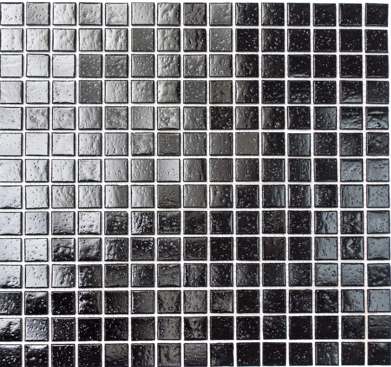 Glasmosaik schwarz Boden Bad WC Küche Wand Fliesenspiegel WB50-0302  1 Matte