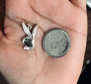 New real sterling silver 925 playboy rabbit bunny emrald charm